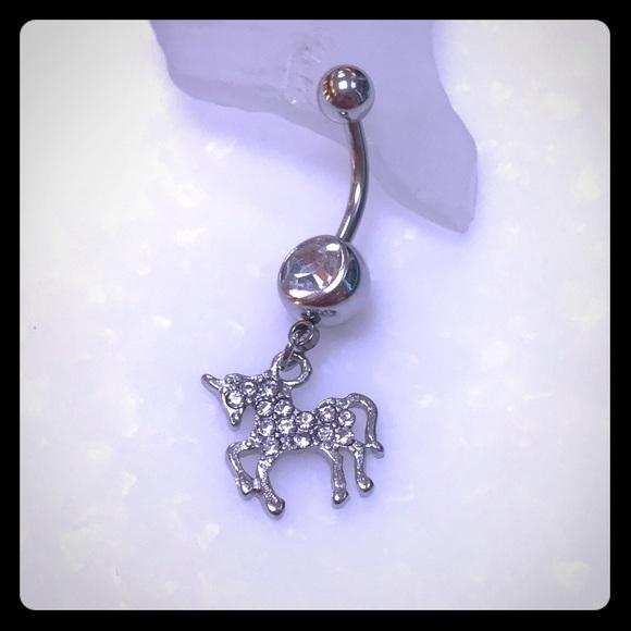 Unicorn Pave Gem Dangle Belly Button Ring 14g Boutique